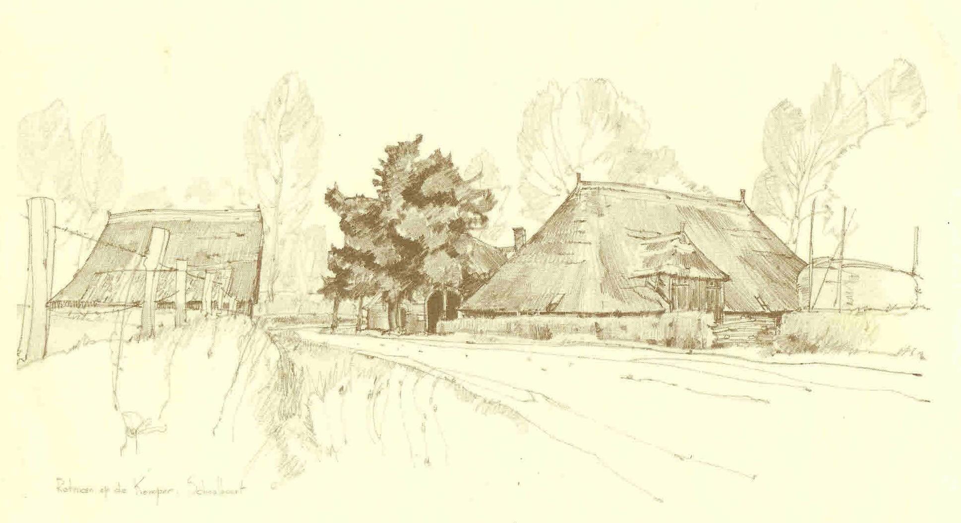 Pentekening Jan Jans van Herberg De Kemper en hotel 'Olae Schöppe'